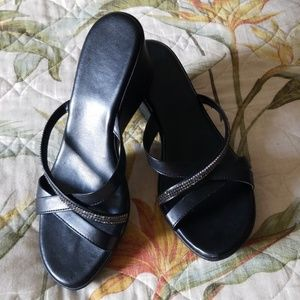 """Shoes - """"Made in Italy"""" Black Wedge w/Silver Bling Trim"""
